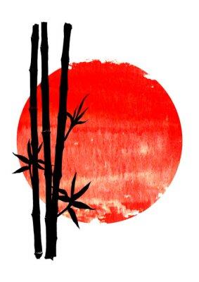 Quadro Black silhouette of bamboo plants on big red sun