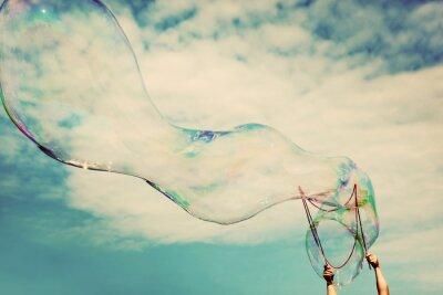 Quadro Blowing grandi bolle di sapone in aria. La libertà d'epoca, concetti estivi.