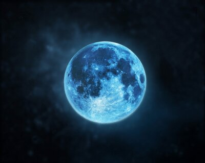 Quadro Blu atmosfera luna piena a sfondo scuro cielo notturno, elementi di questa immagine fornita dalla NASA