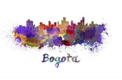 Quadro Bogota skyline in acquerello