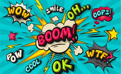 Quadro Boom pop art cloud bubble. Smile, wow, pow, cool, ok, oops, wtf funny speech bubble. Trendy Colorful retro vintage background in pop art retro comic style. Illustration easy editable for Your design.