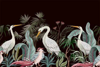 Quadro Border in chinoiserie style with storks and peonies. Vector.