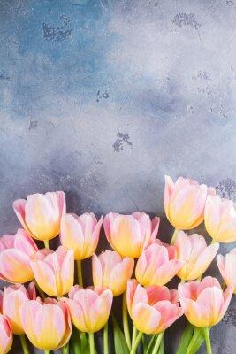 Quadro Bordo di tulipani rosa e gialli su sfondo grigio di pietra con spazio di copia