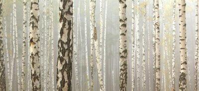Quadro Boschetto di betulle e erba secca in primo autunno, cadere panorama