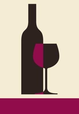 Quadro Bottiglia di vino e di vetro. Lista dei vini di design
