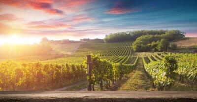 Quadro Bottiglia di vino rosso e bicchiere di vino sul barile di legno. Bellissimo sfondo Toscana