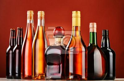 Quadro Bottiglie di bevande alcoliche assortiti