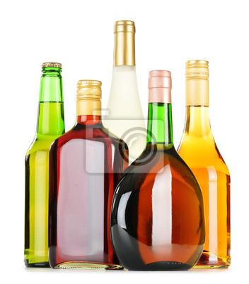 Quadro Bottiglie di bevande alcoliche assortiti isolato su bianco