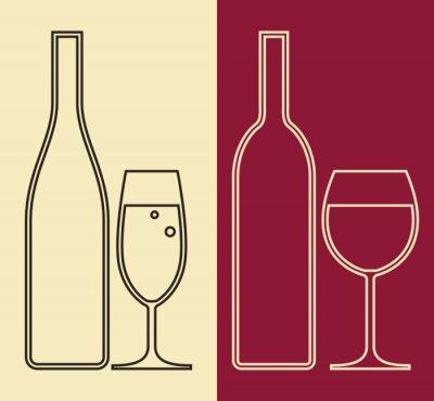 Quadro Bottiglie e bicchieri di vino e champagne