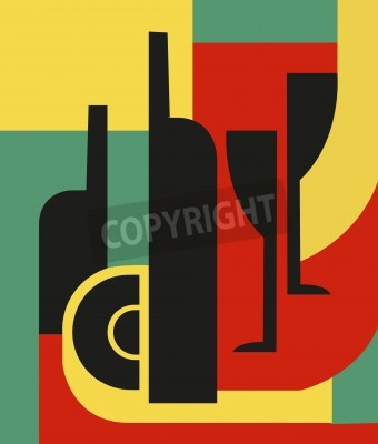 Quadro Bottle and glass  Abstract composition