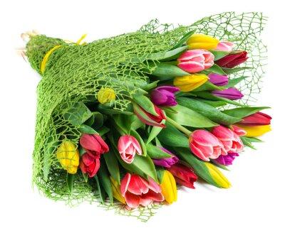 Quadro bouquet di 25 tulipani colorati, isolato su sfondo bianco