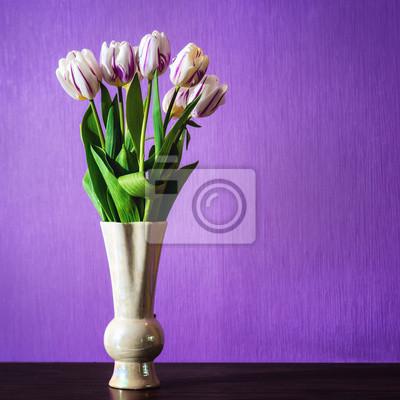 Quadro Bouquet Di Fiori Bellissimi Tulipani In Vaso