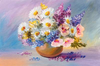 Bouquet di fiori estivi pittura ad olio ancora vita for Fiori dipinti a olio