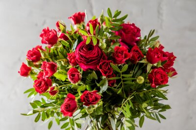 Bouquet di rose rosse dipinti da parete quadri fiori for Quadri con rose rosse