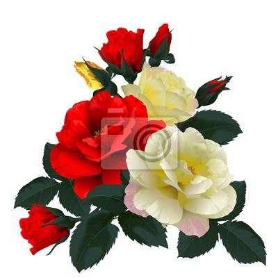 Quadro Bouquet di rose rosse e gialle, isolato su bianco