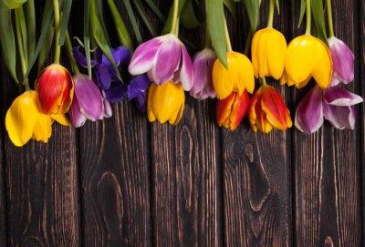 Quadro bouquet di tulipani su legno
