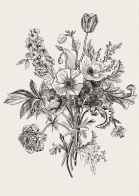 Quadro bouquet vittoriana. Fiori di primavera. Poppy, anemoni, tulipani, Delphinium. Vintage illustrazione botanica. elemento di design. Bianco e nero. incisione