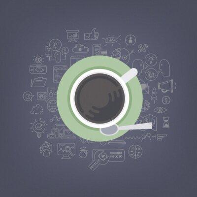 Quadro Brainstorming idee con caffè illustrazione