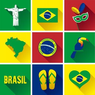 Quadro Brasile piatto Icon Set. Set di grafica vettoriale icone piane che rappresentano punti di riferimento e simboli del Brasile.