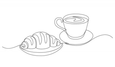 Quadro breakfast with croissant and coffee drawn in one line style.