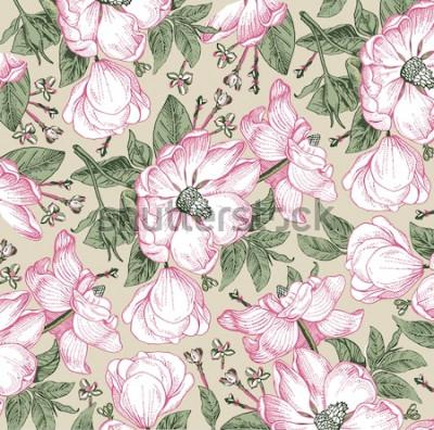 Quadro Brier, rosa canina, rosa canina. Modello classico. Bello barocco isolato di fioritura realistico bianco dei fiori. Sfondo vintage. Incisione di disegno. Carta da parati a mano libera. Illustrazione ve