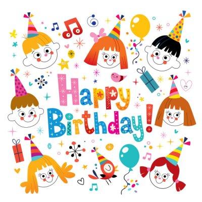 Buon Compleanno Bambini Biglietto Di Auguri Dipinti Da Parete