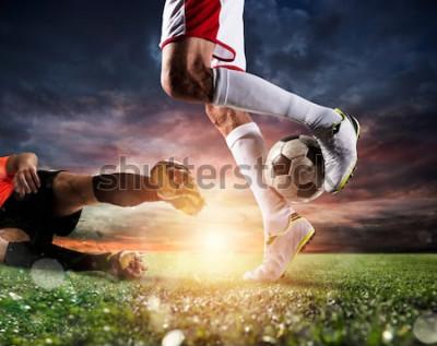 Quadro Calciatori con soccerball allo stadio durante la partita