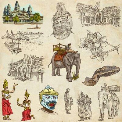 Quadro Cambogia - Una mano disegnato le illustrazioni. Pacchetto Frehand.