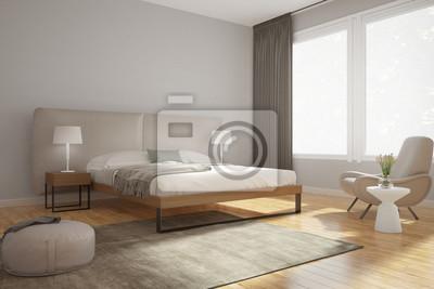 Quadro: Camera da letto moderna beige