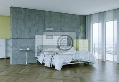 Camera da letto moderna con calcestruzzo a vista dipinti da parete ...