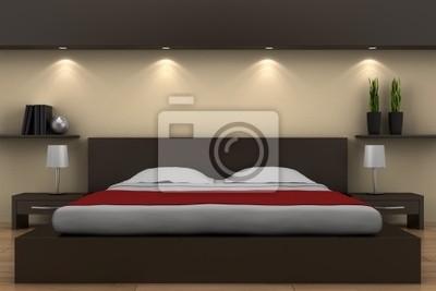 Quadro: Camera da letto moderna con letto marrone e beige muro