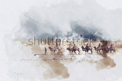 Quadro Cammelli e persone che camminano sulla strada della seta e la dona di sabbia del deserto, illustrazione dell'acquerello digitale
