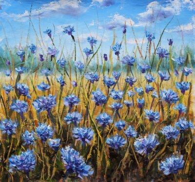 Quadro Campo dei Fiori. Fiori blu in prato. Cielo blu. Pittura ad olio.
