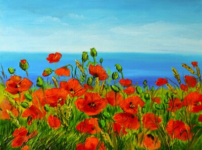 Quadro campo di papaveri vicino al mare, costa colorato, pittura a olio di arte