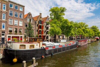 Quadro canali e barche Amsterdam, Olanda, Paesi Bassi.