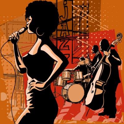 Quadro Cantante jazz con il sassofonista e contrabbasso