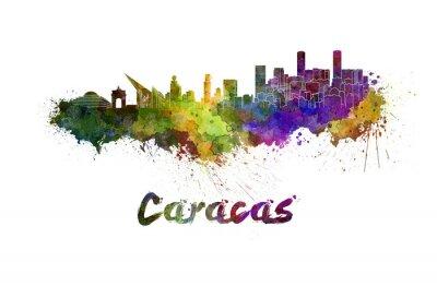 Quadro Caracas orizzonte in acquerello