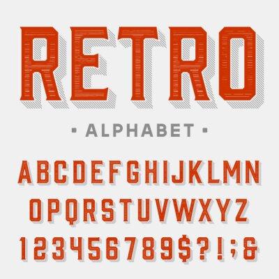 Quadro carattere vettoriale Retro. Le lettere, numeri e simboli. alfabeto annata per le etichette, i titoli, manifesti ecc
