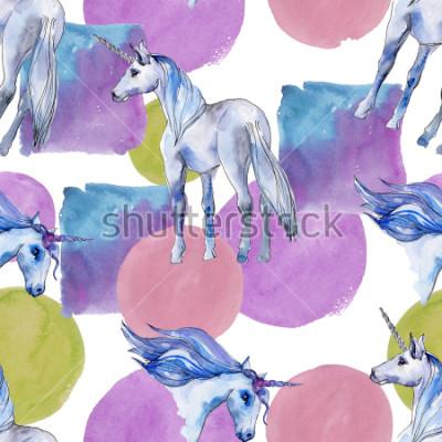 Quadro Carino cavallo unicorno. Sogno di bambini da favola. Modello senza cuciture del fondo del corno animale dell'arcobaleno. Trama di stampa carta da parati in tessuto. Acquerelli Animale Selvatico per