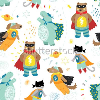 Quadro carino disegnato a mano bambini supereroe senza cuciture, gatto, orso e ippopotamo