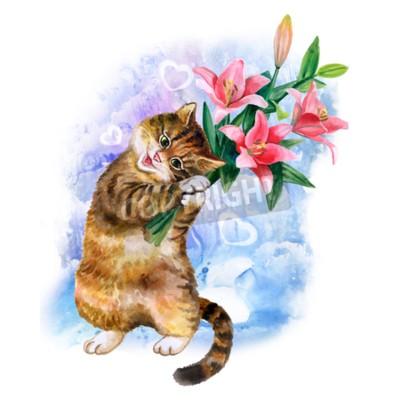 Quadro carta acquarello sveglia con il gatto e fiori isolati su sfondo blu con il cuore. Bella gattino con gigli. Ideale per il giorno di Valentino, compleanno, matrimonio manifesto invito. Bella mazzo molla