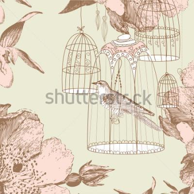 Quadro carta d'epoca con uccello nella gabbia