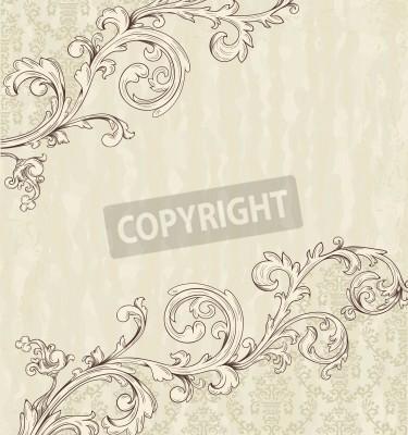 Quadro Carta d'epoca dettagliato con carta da parati damascata su beige grunge