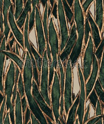 Quadro carta da parati alghe dipinte a mano. modello senza cuciture erba esotica. illustrazione tropicale per il design tessile e di superficie