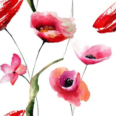 Quadro carta da parati senza soluzione di continuità con i papaveri fiori