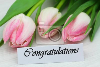 Carta di congratulazioni con tulipani rosa dipinti da parete ...