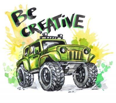 Quadro Carta disegnata a mano con grande auto e lettering. Parole essere creativi. Illustrazione multicolore dell'acquerello. Sport pazzo attivo. Trasporto.