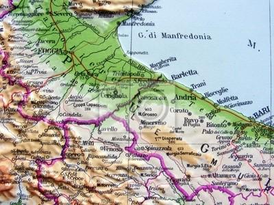 Cartina Topografica Puglia.Carta Geografica Della Puglia Dipinti Da Parete Quadri Barletta Andria Foggia Myloview It
