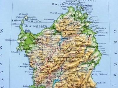 Cartina Geografica Sud Sardegna.Carta Geografica Della Sardegna Dipinti Da Parete Quadri Nuoro Gallura Bocche Myloview It