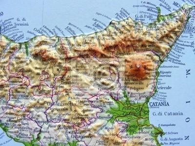 Cartina Autostradale Sicilia.Carta Geografica Della Sicilia Dipinti Da Parete Quadri Caltanissetta Cataniait Autostrada Myloview It